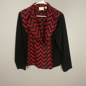 Chico's Red Black Chevron Print Zippered Jacket
